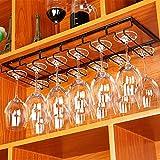 LDIWA Soporte para Copas, Portacopas, con 6 Filas, para 18 Vasos, Soporte de Metal para Colgar Copas en la Cocina, Bar o Restaurante, Color Negro