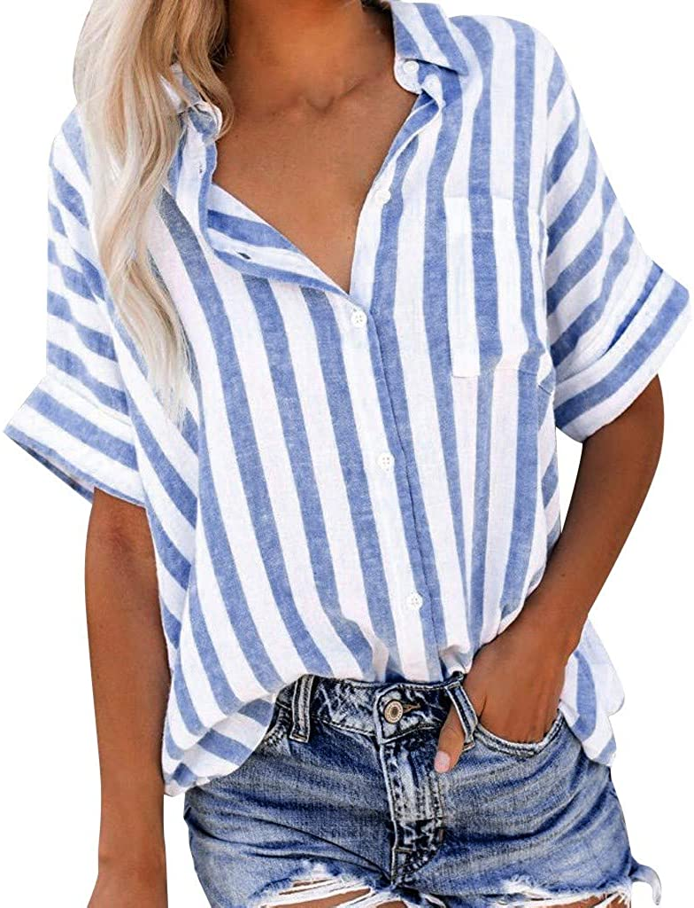 TWGONE Striped Button Down Shirt Women Short Sleeve Tee Popular Summer Blouse Tops