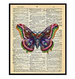Upcycled Dictionary Wall Art Print - 8x10 Vintage Unframed Photo - Great For Home Decor and Easy Gift Giving - Nature Lavender Butterfly