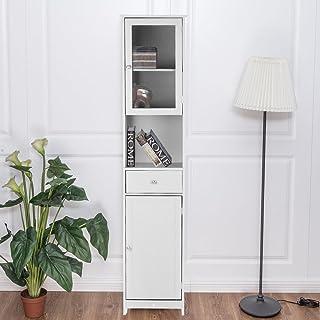 IKAYAA Librería Estantería de Almacenaje Mueble Armario de Almacenaje para Baño Medida:40 * 28 * 180 cm Color Blanco