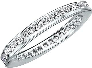 Solid 14k White Gold 0.98ct Round Eternity Diamond Engagement Wedding Band Jewelry & Watches