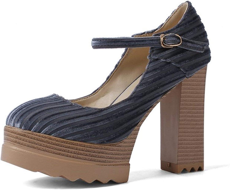 Women Pumps Ankle Strap Platform shoes Women High Heels Comfortable Thick Heel Pumps