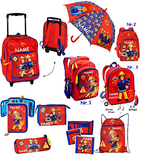 alles-meine.de GmbH Regenschirm -  Feuerwehrmann Sam  - incl. Name - Kinderschirm Ø 73 cm - Kinder Stockschirm - Regenschirm - Schirm für Jungen - Kinderregenschirm / Glockensc..