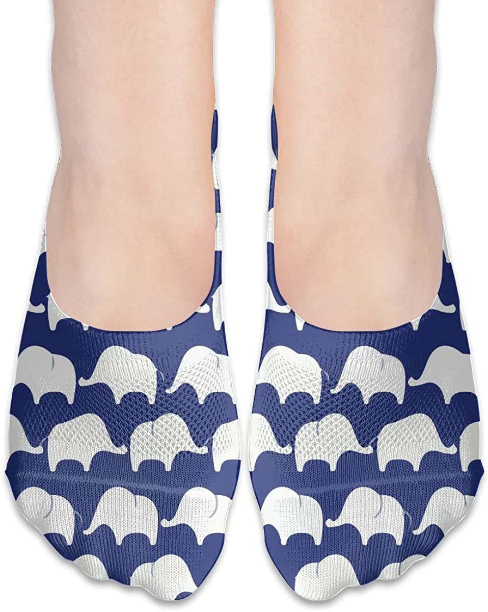 No Show Socks Women Men For Save Cute Elephant Flats Cotton Ultra Low Cut Liner Socks Non Slip