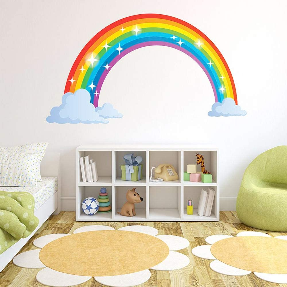 Wall Decoration Bedroom Decal Wall Art Wall Decal Home Decor Wall Stickers Mural Rainbow with Hearts Home Decor Wall Graphics