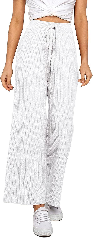 Waitfairy Womens Solid Rib Knit Wide Leg Pants Elastic Waist Flowy Sweater Pants