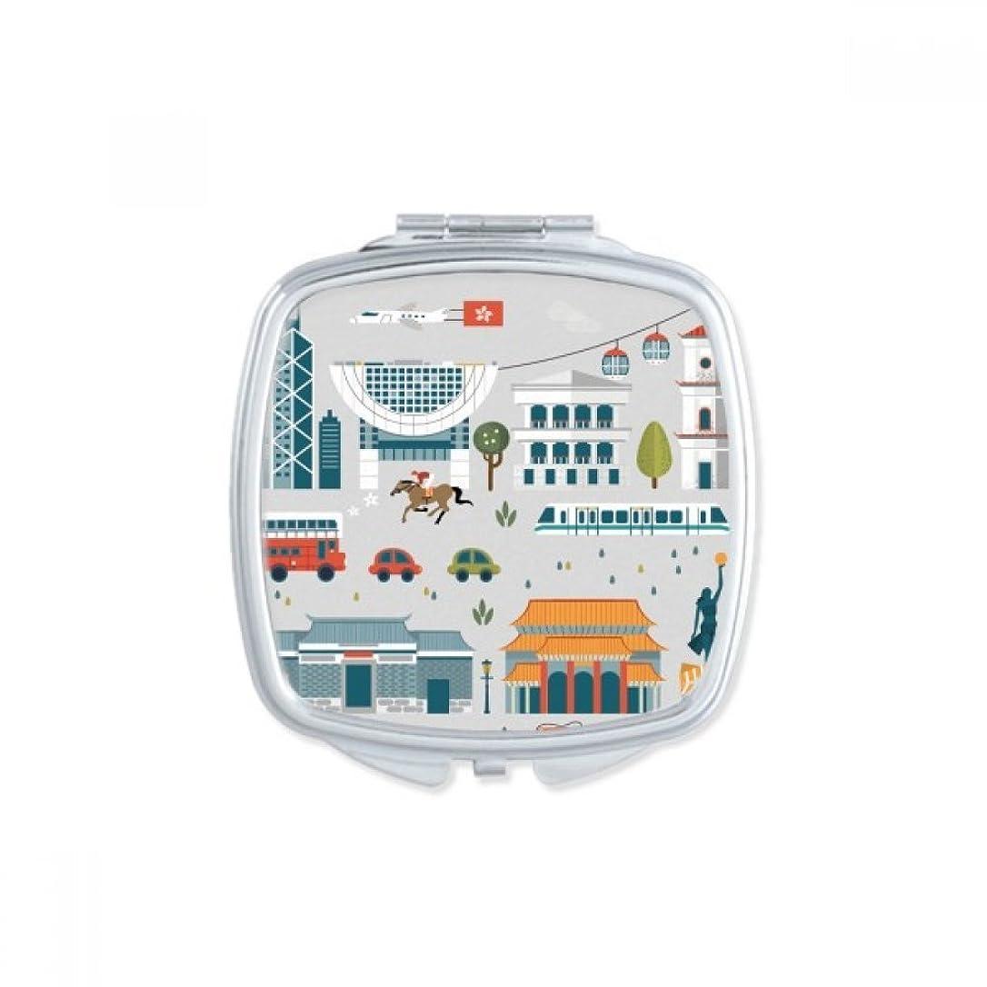 インシュレータ残り物ティッシュ香港を訪問することの価値 スクエアコンパクトメークアップポケットミラー携帯用の小さなかわいいハンドミラープレゼント