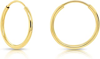 14k Yellow Gold Very Thin Flexible Endless Hoop Earrings (10mm, 12mm, 14mm, 16mm, 18mm)