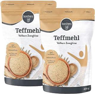 2 x borchers Premium helles Teffmehl, aus Zwerghirse, reich an Ballaststoffen, Angenehm Nussig, Perfekt zum Backen für Kuchen, Crepes und Brote 400 g