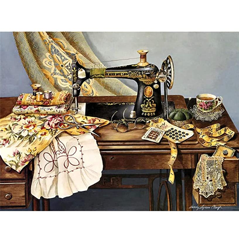 Diamond Painting Kits Sewing Machine - HuaCan DIY 5D Crystal Rhinestone Embroidery Pictures Arts Craft Sewing Machine 30x40cm 11.81x15.75in Full Square Drill