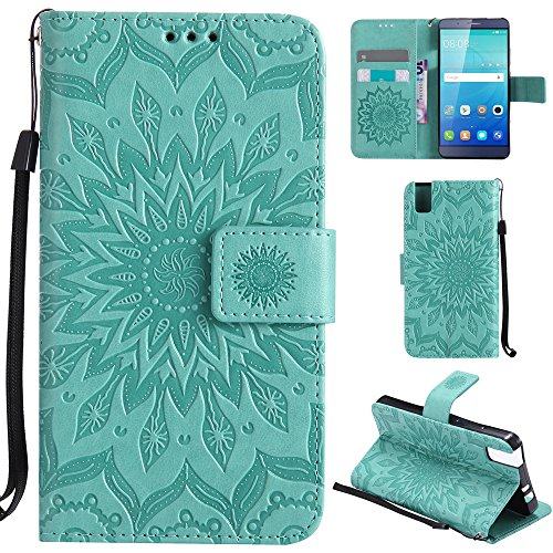 Ooboom® Huawei ShotX Hülle Sonnenblume Muster Flip PU Leder Schutzhülle Handy Tasche Hülle Cover Stand mit Kartenfach für Huawei ShotX - Grün