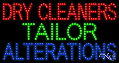 17x32x1 inches Dry Cleaners Tailor Alterations Animated Flashing LED Window Sign