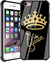 iPhone 6s Plus Case, iPhone 6s Plus Case Queen Golden Crown Pattern Gold Glitter Slim Fit Luxury Tempered Glass Black Cover with Soft Silicone Shockproof Bumper Case for iPhone 6/6s Plus 5.5 inch