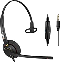 Arama 3.5mm Cell Phone Headset Mono, Pro Noise Canceling Mic and in-line Controls Corded Truck Driver Headsets for iPhone, Samsung, LG, HTC, BlackBerry Mobile Phone and iPad Tablets Skype A800J35