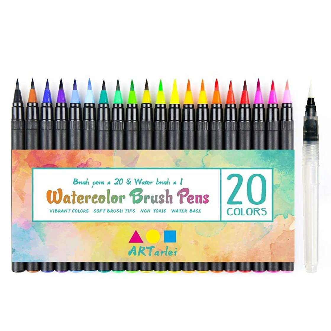 Watercolor Brush Pens Set, 21 Professional Brush Markers with Flexible Brush Tips for Coloring, Calligraphy and Drawing Water Brush for Artists and Beginner Painters