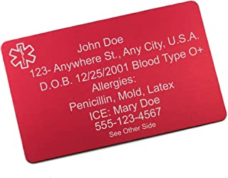 StickyJ USA Red Aluminum Medical Alert Wallet Card with Free Engraving