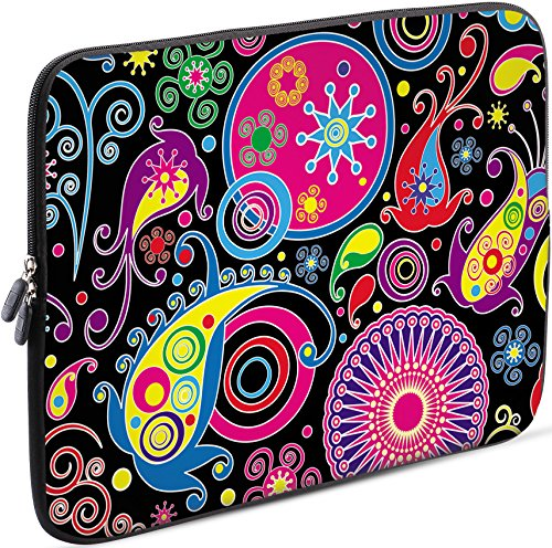 Sidorenko Laptop Tasche für 14-14,2 Zoll | Universal Notebooktasche Schutzhülle | Laptoptasche aus Neopren, PC Computer Hülle Sleeve Case Etui, Rosa/Schwarz