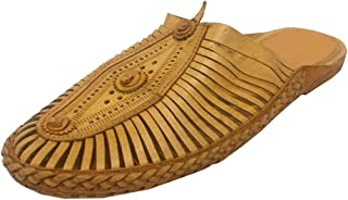 Step n Style Men's Sandal Buffalo Leather Shoes Mojari Kolhapuri Chappal Flat Jutti