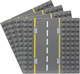 Feleph Road Baseplate for Bigger Size Building Blocks, 12 Studs for 7.5 Inches City Street Base Plate, Stackable Board for...