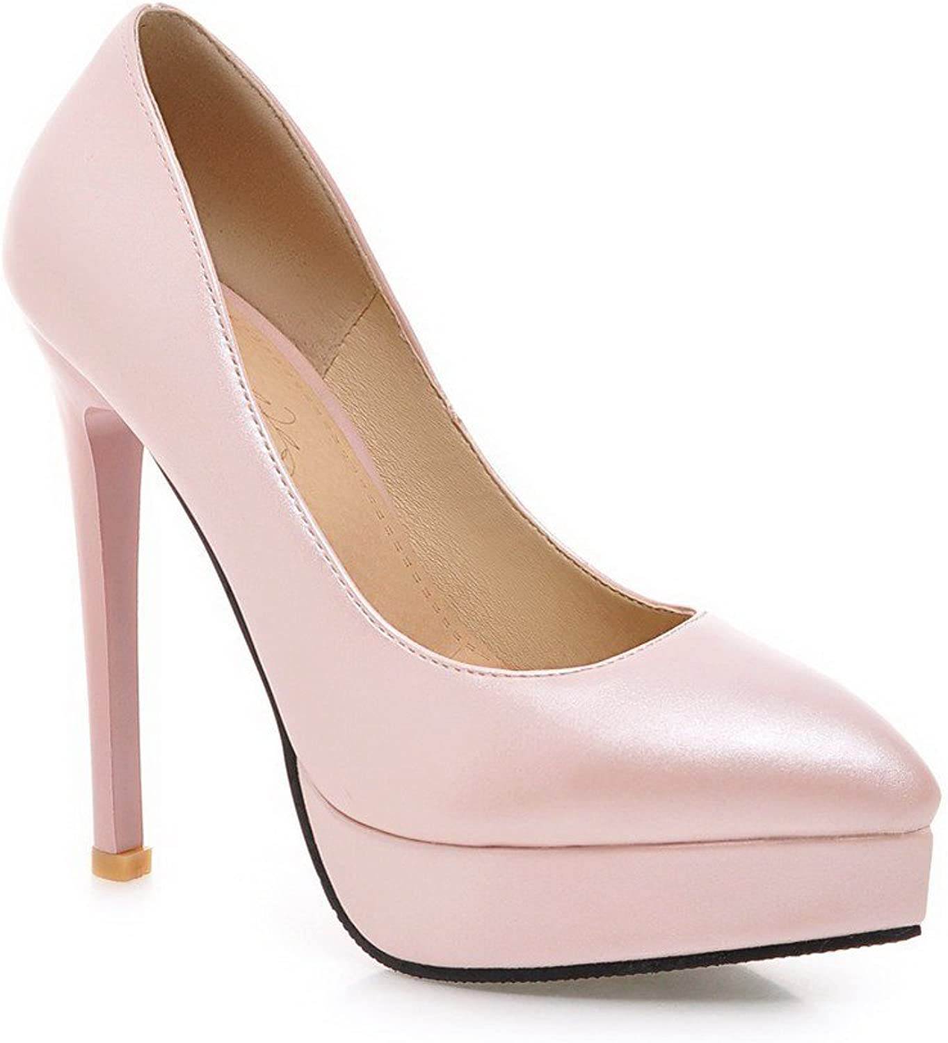 WeenFashion Women's Pointed Closed Toe High-Heels Soft Material Solid Pull-on Pumps-shoes