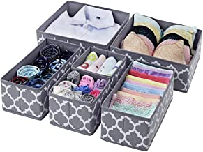 House of Quirk Foldable Cloth Storage BoxCloset Dresser Drawer Organizer Cube Basket Bins Containers Divider with Drawers for Underwear, Bras, Socks, Ties, Scarves, Set of 6 (Grey Lantern)