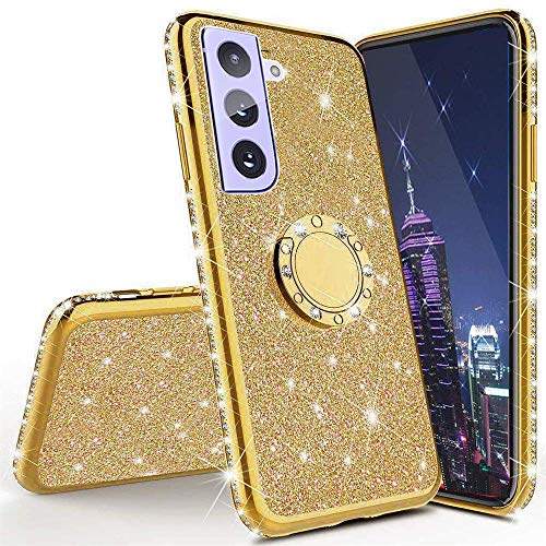 Samsung Galaxy S21 Plus Case for Women,CCSmall Glitter Sparkle Bling w/Kickstand Case Shiny Crystal Rhinestone Diamond 360 Degree Ring Grip Magnetic Phone Cover for Samsung Galaxy S21 Plus HH Golden
