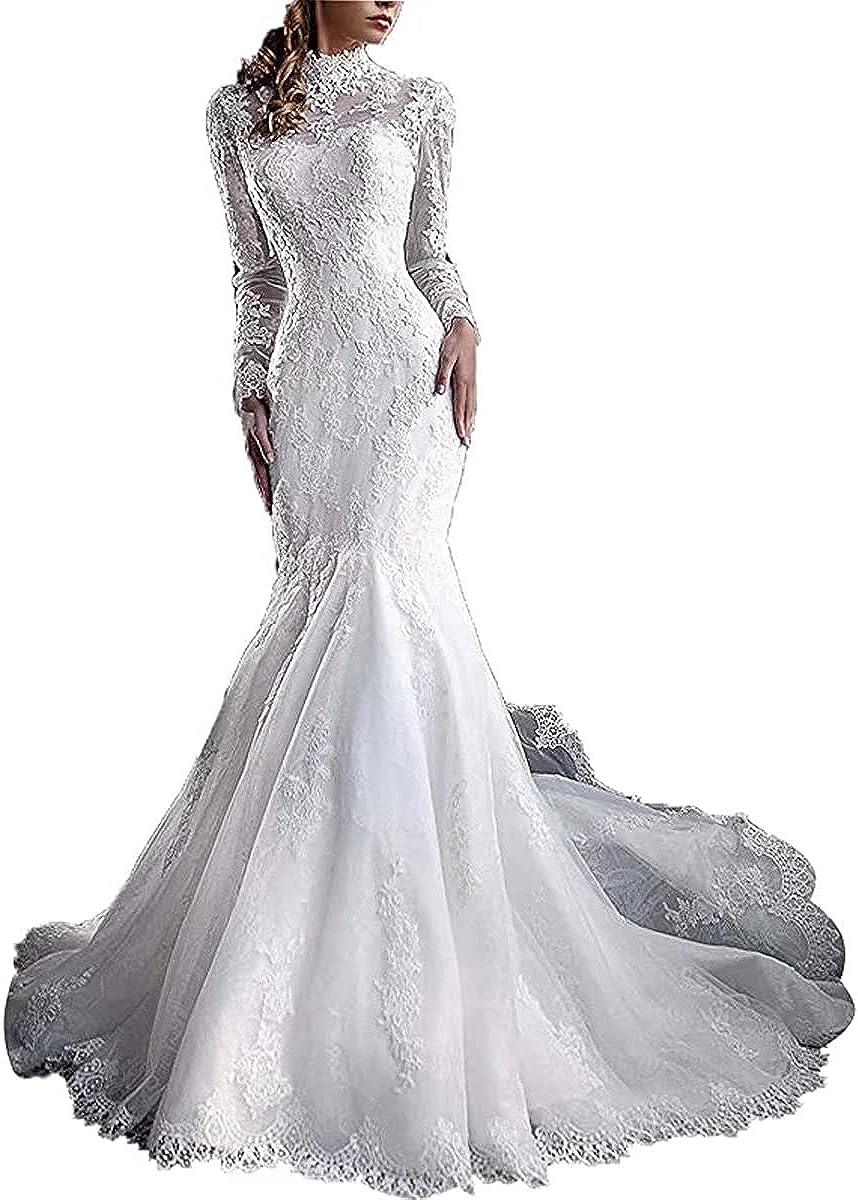 Yuxin Women's High Neck Lace Mermaid Wedding Dress 2021 Elegant Long Sleeves Appliques Bridal Gowns