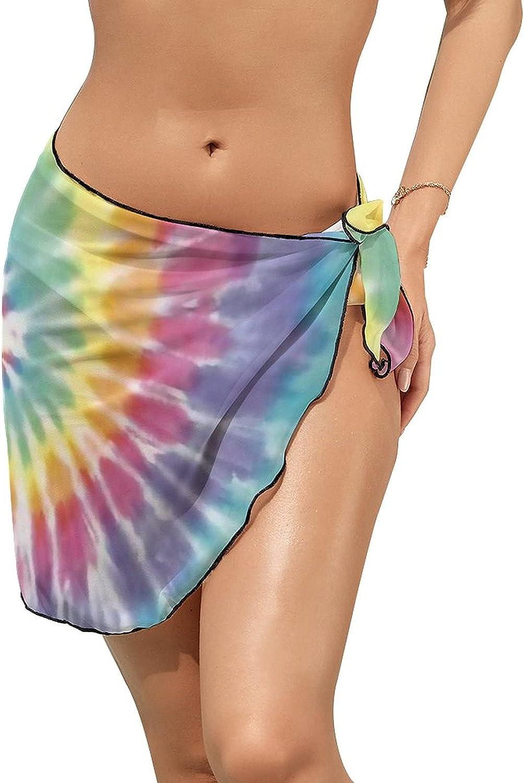 Women Beach Wrap Sarong Cover Up Rainbow Swirl Ti-e D-ye Sexy Short Sheer Bikini Wraps