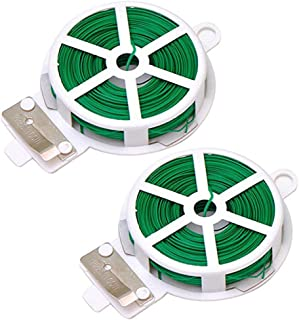 2-Pack x 164 Ft(50m) Twist Ties,Green Coated Garden Plant Ties with Cutter for Gardening and Office Organization, Home