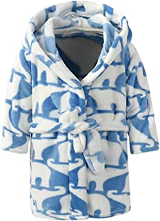 Boys & Girls Bathrobes,Toddler Kids Hooded Robe,Plush Soft Coral Fleece Bathrobe Robes Pajamas Sleepwear for Girls Boys