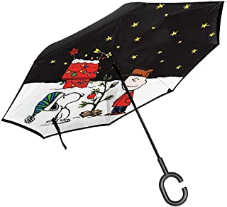 Inverted Umbrellas Snoopy And Charlie Brown Christmas Reverse Folding Umbrella Windproof UV Protection Big Straight Umbrella For Car Rain Outdoor With C-Shaped Handle