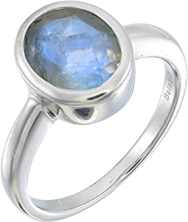 Oval Rainbow Moonstone Faceted Ring Size 7