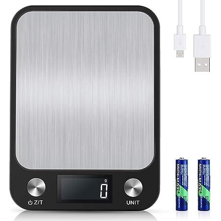 Diyife 10kg Balance Cuisine [USB Rechargeable &Batterie], Balance Electronique Precision 0,001 kg, Balance Numérique en Acier Inoxydable, 6 Unités Pesage, Affichage Rétroéclairé par LCD, Fonction Tare