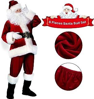 f51039e21a133 sumuya Costume de Papa Noël Déguisement  Costume de Père Noël pour Homme (6  pièces