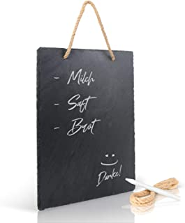 Amazy Tableau en ardoise (30,5 cm x 20 cm) avec ruban de jute et stylo à craie pour écrire - Le tableau de mémos résistant...