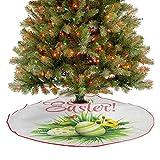 Homesonne Alfombra para árbol de Navidad, follaje con flores florecientes, mariquitas y mariposas, d...