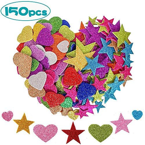 Glitter Schaumstoff Aufkleber 150 Stück, Farben Selbstklebend Stern und Herz Sticker,Schaumstoff Sticker Set für Kinder/Wand Dekoration/Basteln/Fertigkeit Dekorativ