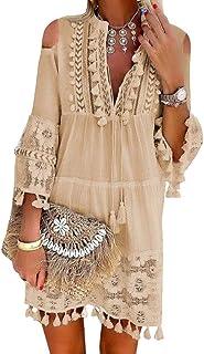 Minetom Damen Kleider Strand Elegant Casual A-Linie Kleid Langarm Sommerkleider Boho V-Ausschnitt Quaste Spitze Tunika Böhmen Mini Kleider