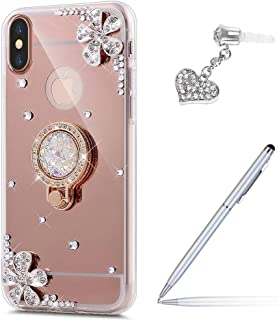 ikasus Case for iPhone XR Diamond Case,Crystal Inlaid diamond Flowers Rhinestone Diamond Glitter Bling Mirror Back TPU Case & Ring Stand + Touch Pen Dust Plug for iPhone XR Mirror Case,Rose Gold