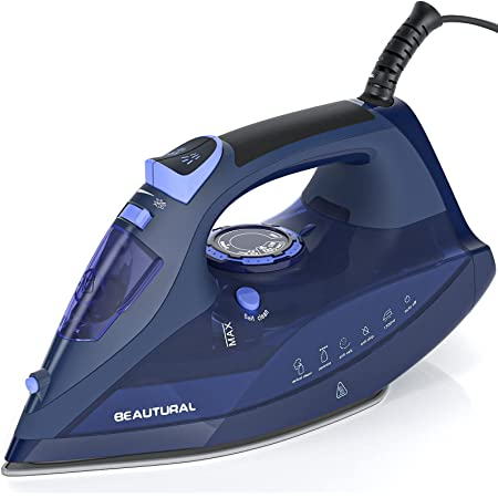 BEAUTURAL Steam Iron for Clothes with Precision Thermostat Dial, Ceramic Coated Soleplate, 3-Way Auto-Off, Self-Cleaning, Anti-Calcium, Anti-Drip