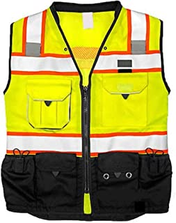 Vero1992 Vest Mens Class 2 Black Series Serveyors Utility Pockets Safety Vests Premium Black Series Serveyors Vest (Medium, Yellow/Black)