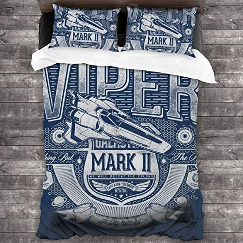 KUKHKU Viper Mark II Battlestar Galactica Juego de ropa de cama de 3 piezas con funda de edredón de 86 x 70 pulgadas, Decorativo juego de cama de 3 piezas con 2 fundas de almohada