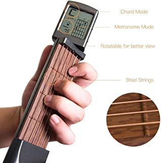 Pocket Guitar Chord Trainer, Portable Mini 6 Fret Guitar Finger Trainer Chord Practice Tool With Rotatable Chords Chart Screen For Beginner
