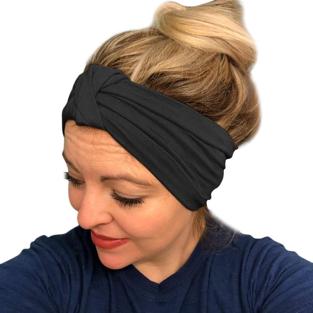URIBAKE Women Stretch Headbands Solid Wide Hair Wrap Accessories Knot Headband
