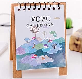 Sun·Light Standing Table Desk Flip Calendar, 2020 Cute Cartoon Mini Monthly Wall Desk Paper Calendar, Memorandum Plan Calendar Daily Planner (D)