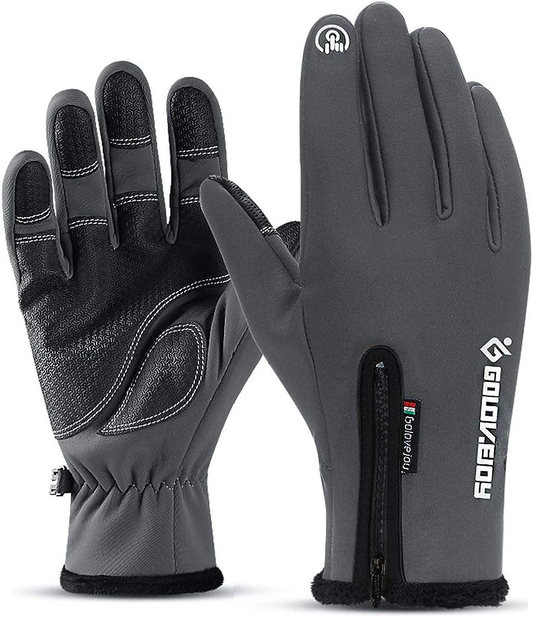 Golovejoy Winter Gloves Waterproof Windproof Anti-slip Gloves All Finger Touch Screen Men