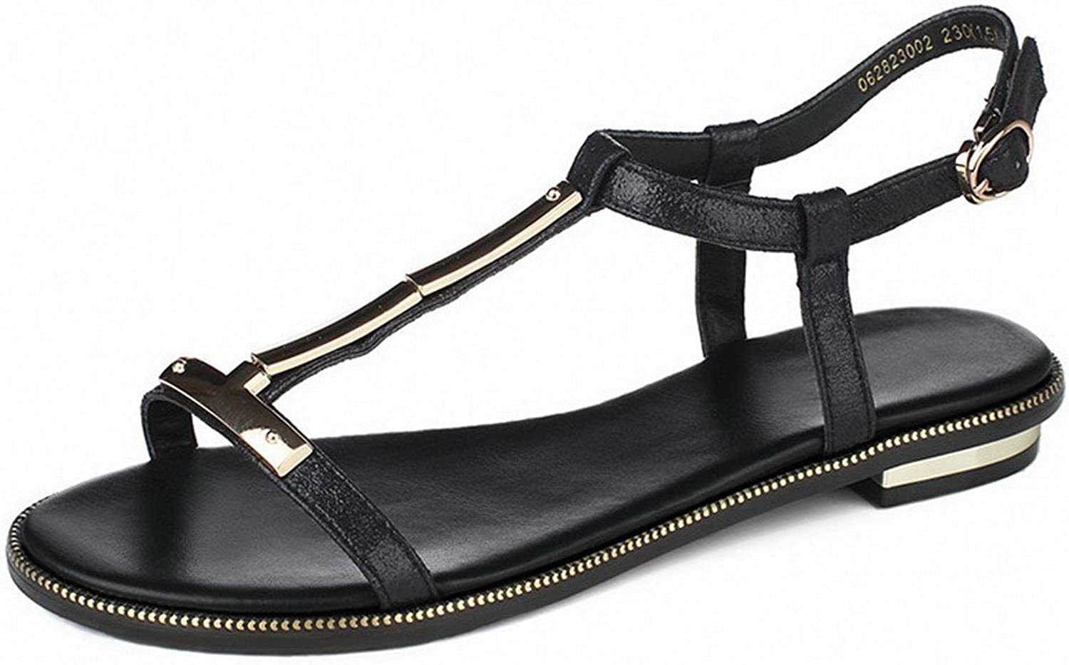 AmoonyFashion Women's Soft Material Open-Toe Low-Heels Buckle Solid Sandals