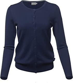 MINEFREE Women's Crewneck Cardigan Button Down Long Sleeve Knit Sweater (S-3XL)