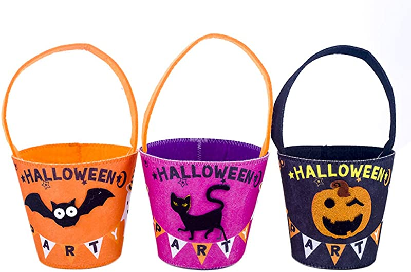 Pannow 3 Pcs Halloween Cartoon Felt Candy Buckets With Handle Kids Trick Or Treat Candy Pails Handbag Tote Goody Gift Bags For Halloween Party Favors Snacks 5 1x9 8 Inch