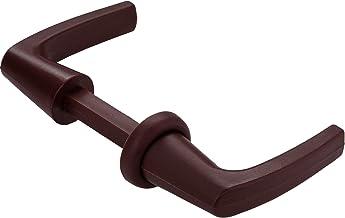 Gedotec deurkrukgarnituur rozette-grepen voor push-lock opschroef-slot, kunststof bruin, drukstift-profiel 7 mm, 1 stuk - ...